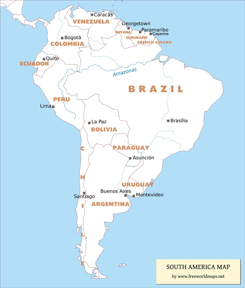 Free PDF Maps Of South America - South america map labeled