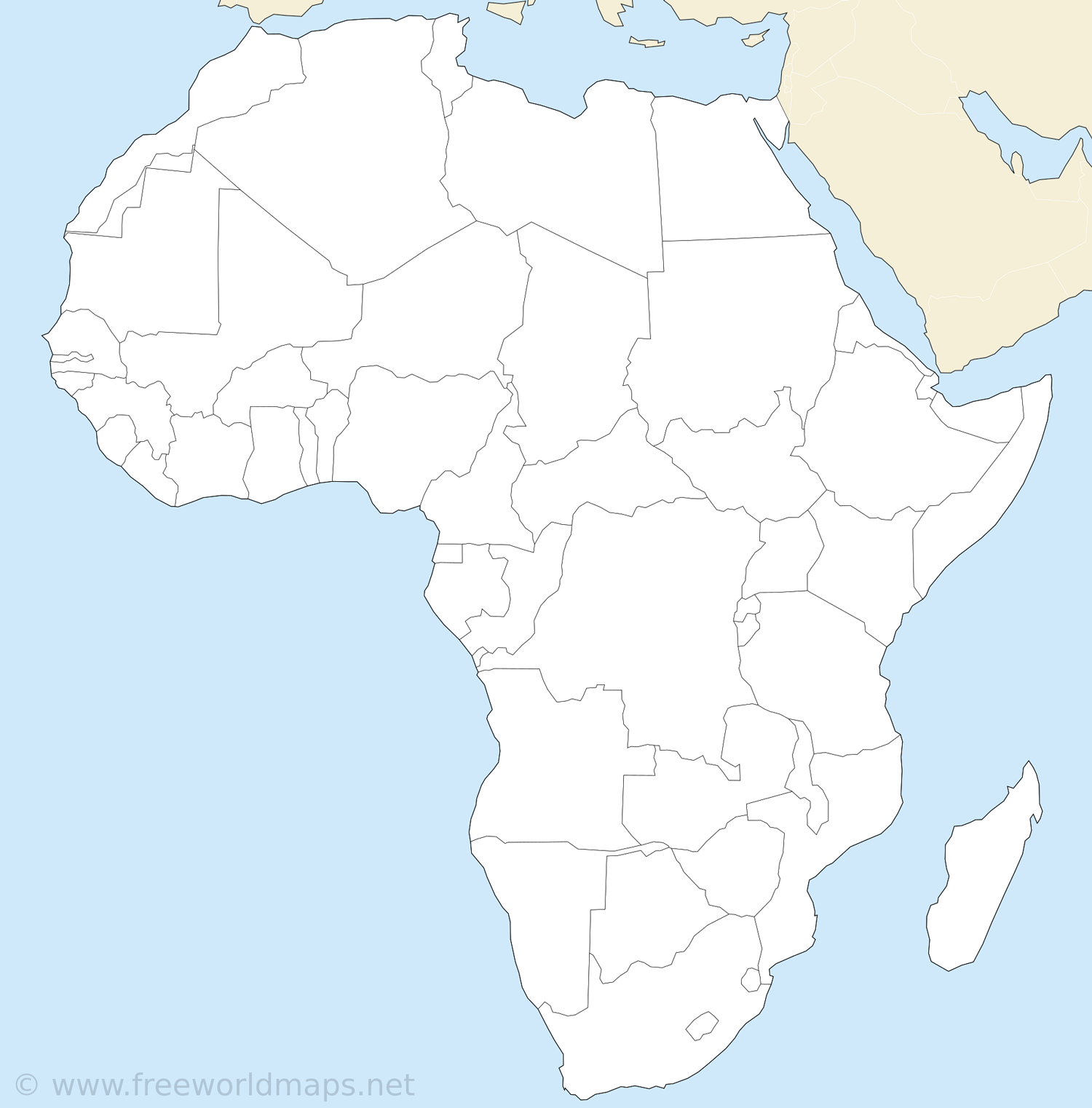 africa map countries label