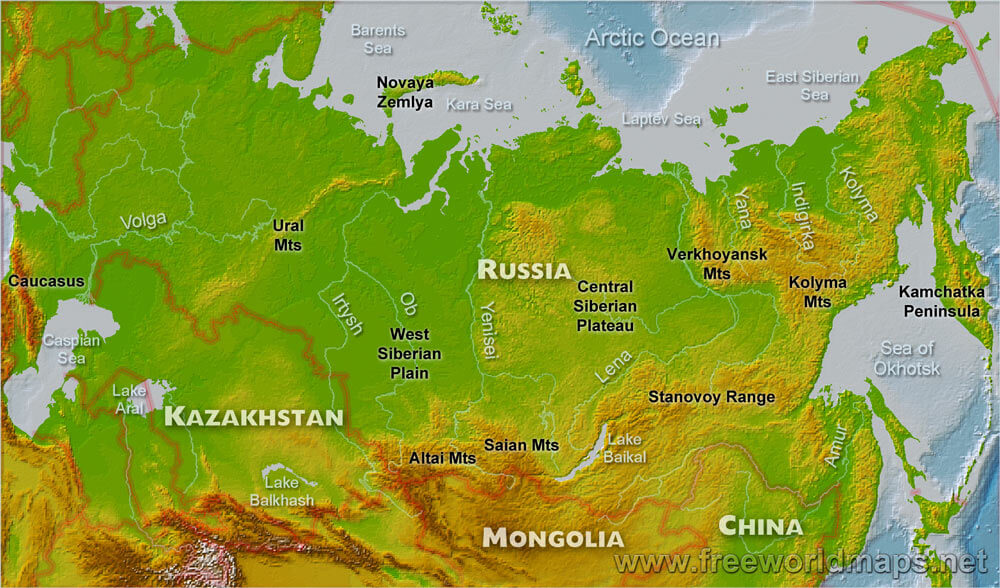 Russia Physical Map - Map of russia