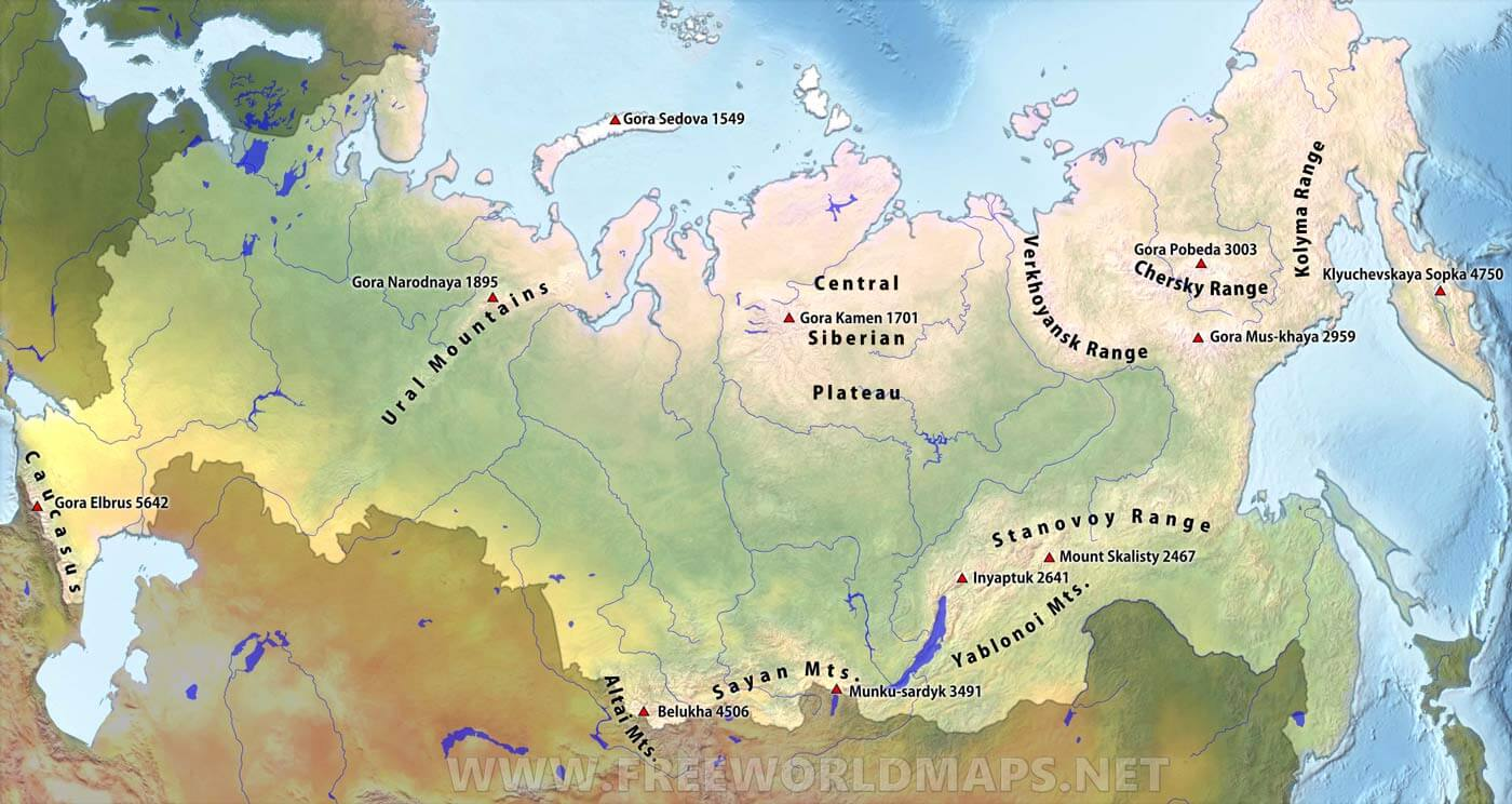 Russia Mountain Ranges – by FreeWorldMaps.net