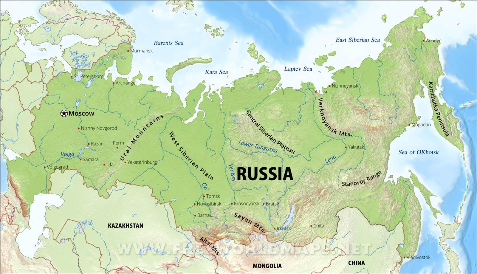 Russia Physical Map - Ob river on world map