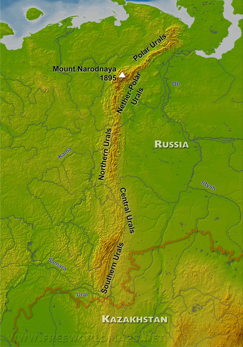 images for ural mountains map