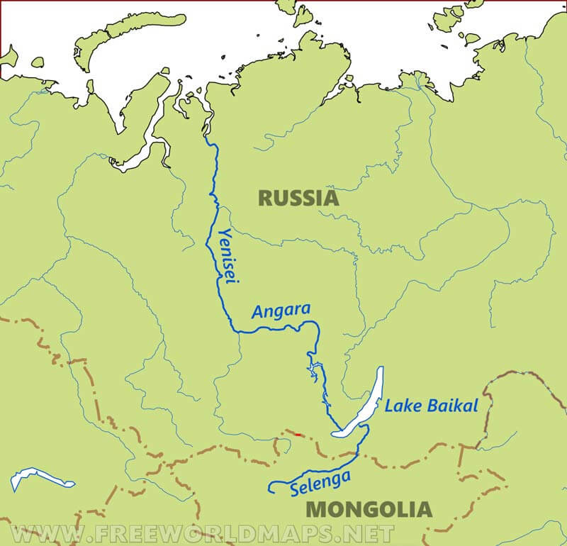 Russia Rivers Map - Ob river on world map