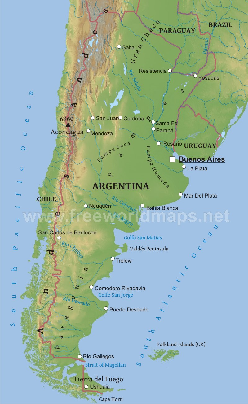 Argentina physical map argentina geography gumiabroncs Choice Image