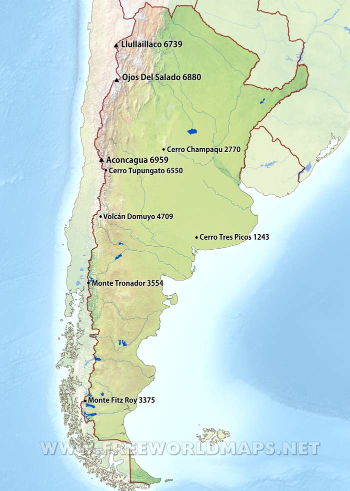 Argentina Physical Map - Argentina map cities
