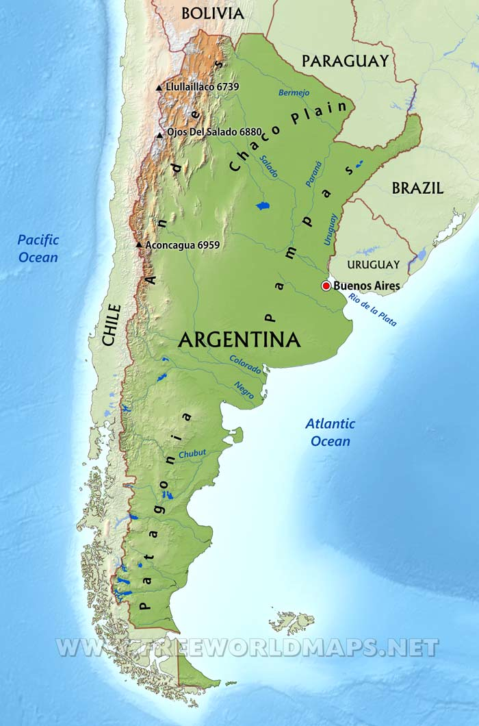 Argentina Physical Map - Us physical features map labeled