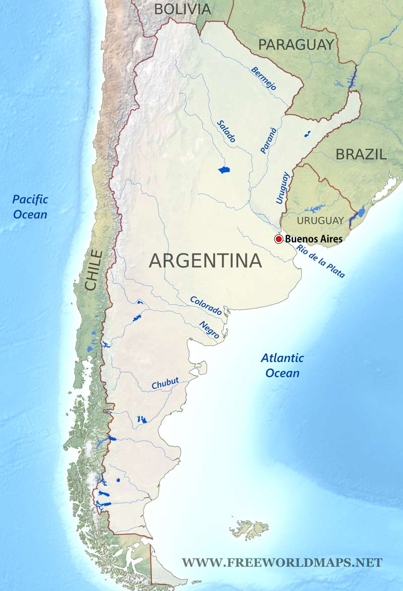 South America Map With Rivers.Argentina Physical Map