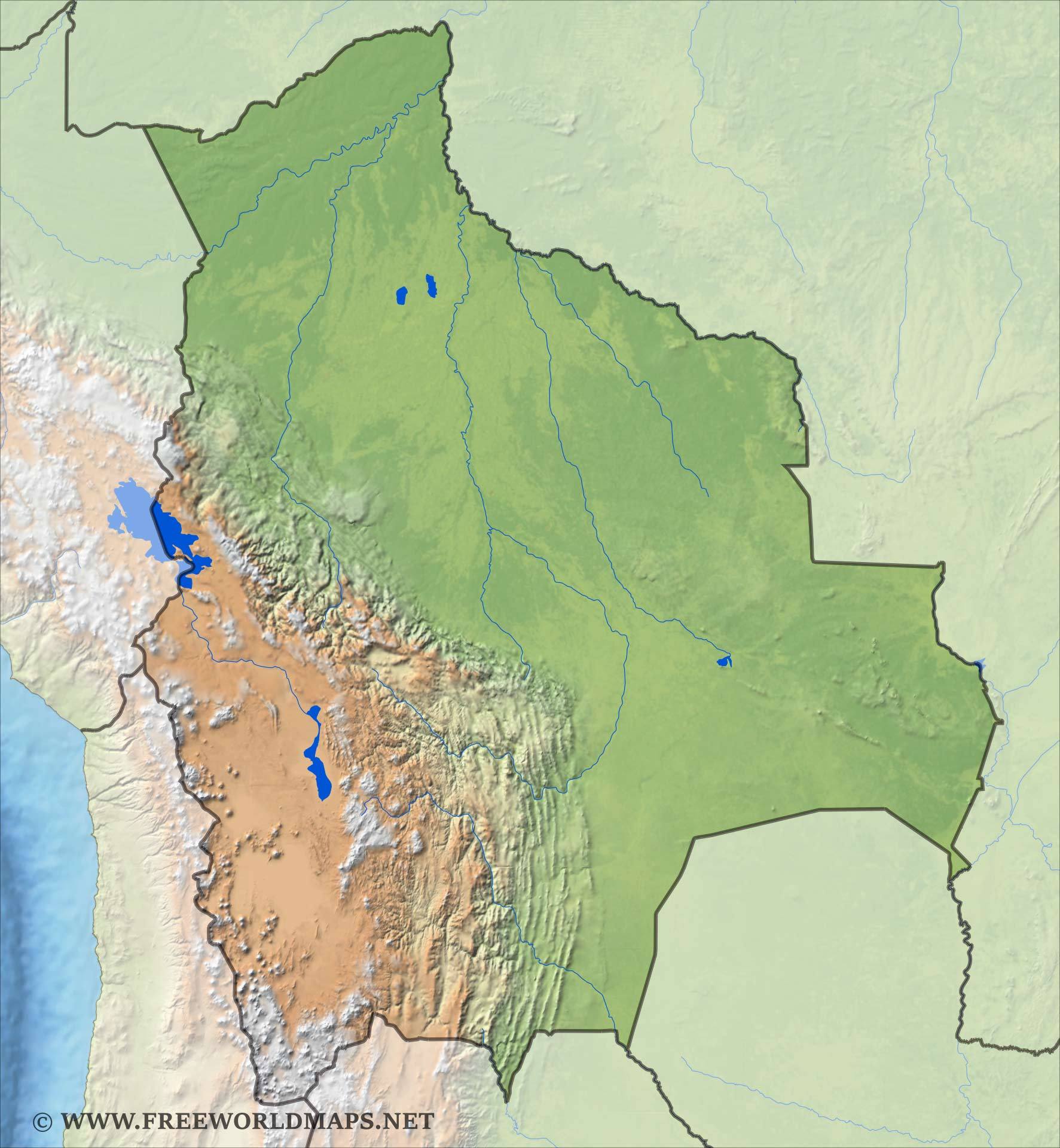 geographical map of bolivia - photo #9