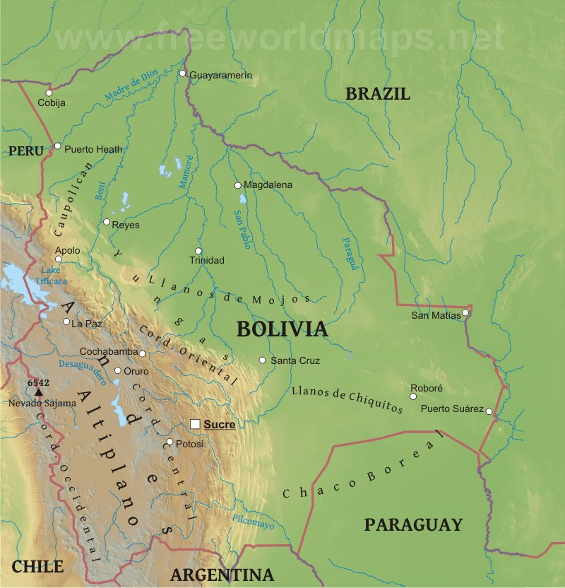 geographical map of bolivia - photo #3