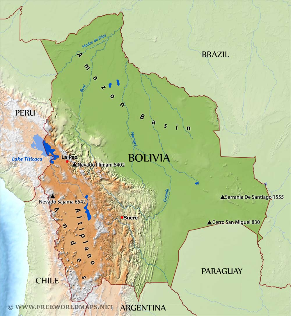 Bolivia Physical Map - World physical map labeled