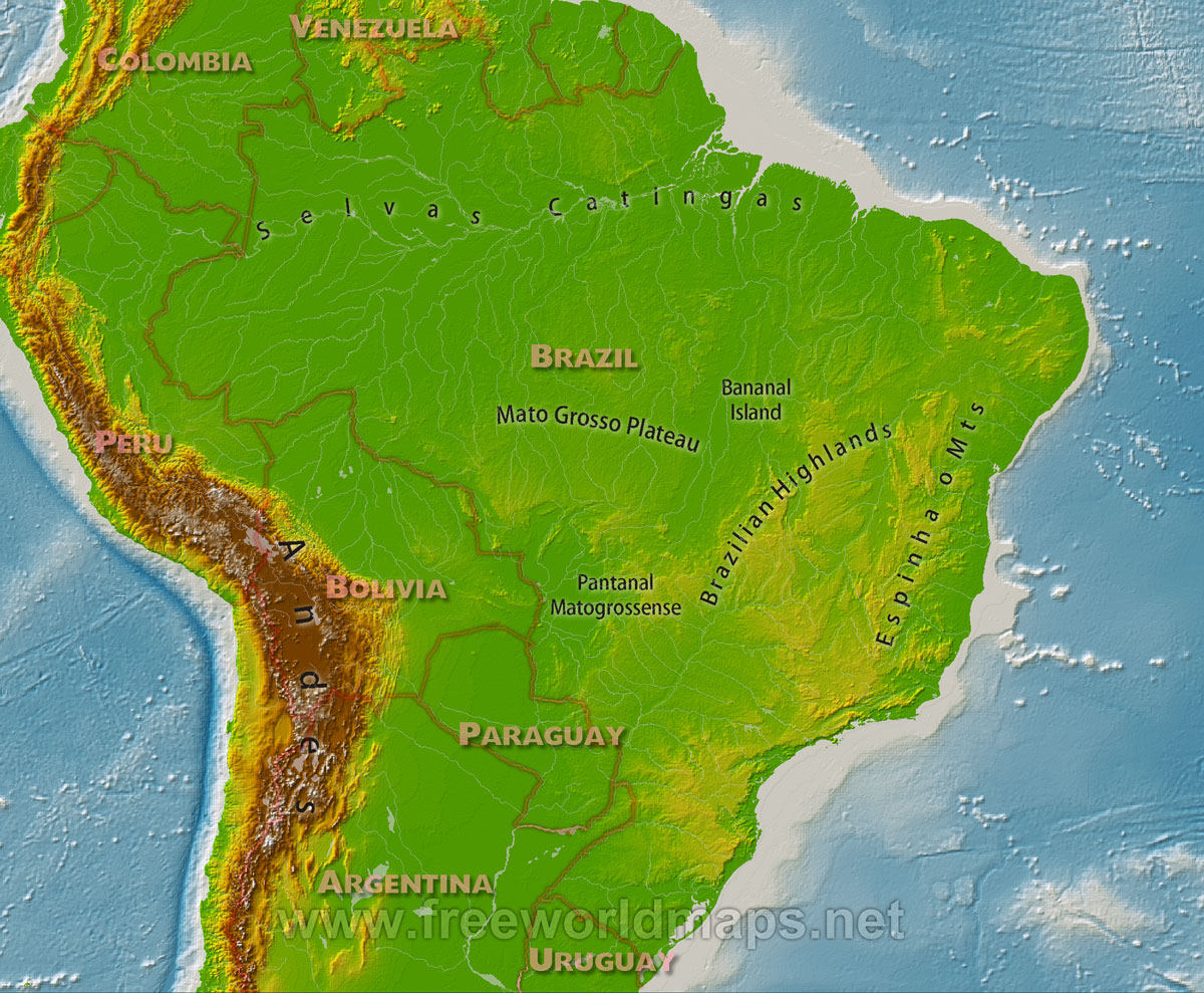 map showing the major geographical features of Brazil Brazil