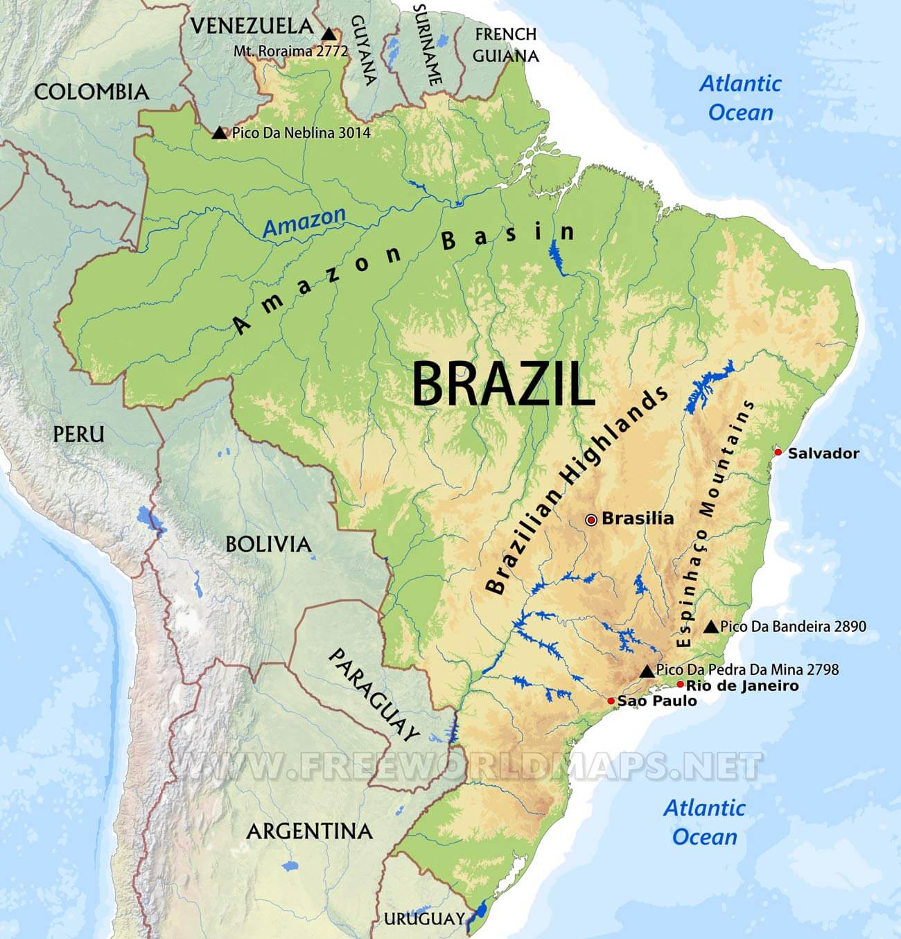 Brazil Physical Map - Parana river map