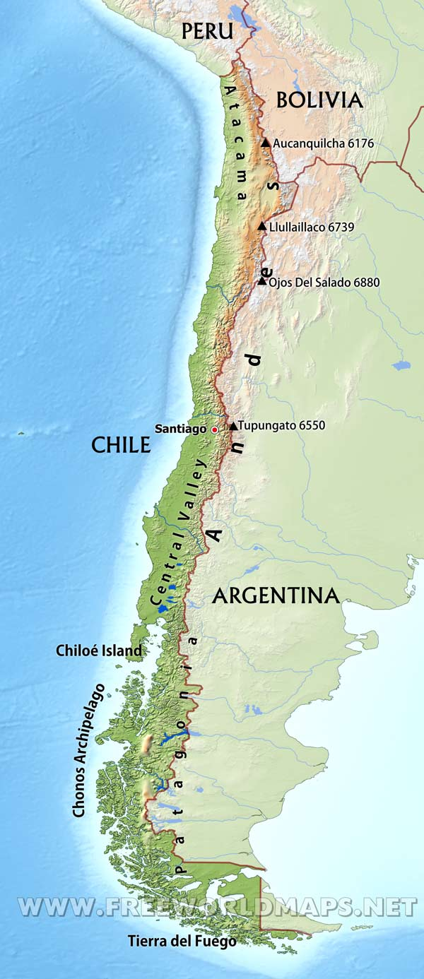 Chile Physical Map - Physical map of argentina