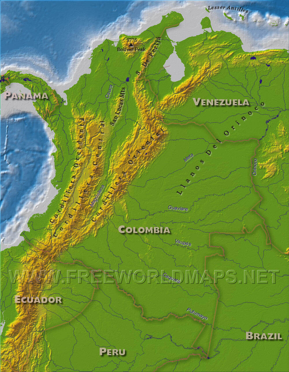 Colombia Physical Map - Brazil map physical