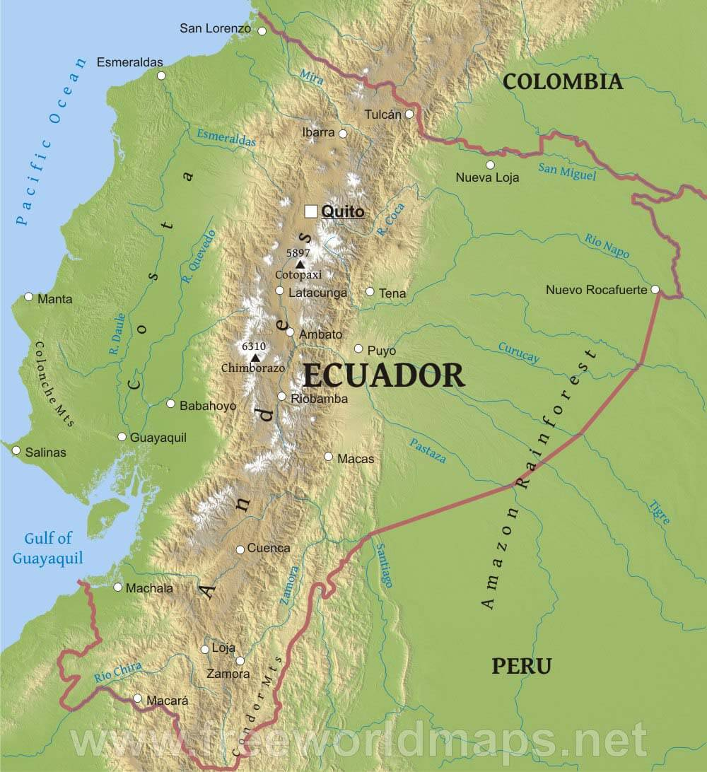 ecuador physical map - ecuador geography