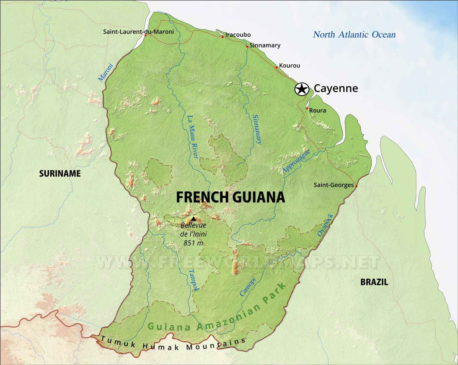 French Guiana Physical Map - South america french guiana map