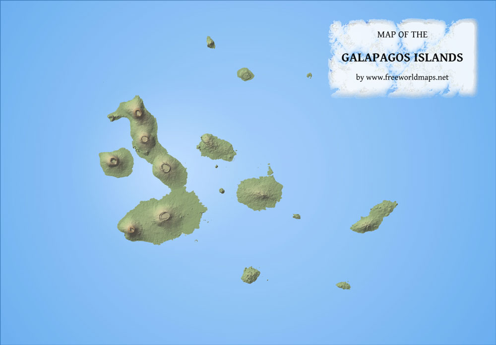 South America Map Galapagos Islands.Galapagos Physical Map