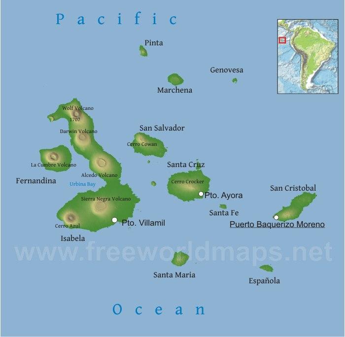 South America Map Galapagos Islands.Galapagos Physical Map