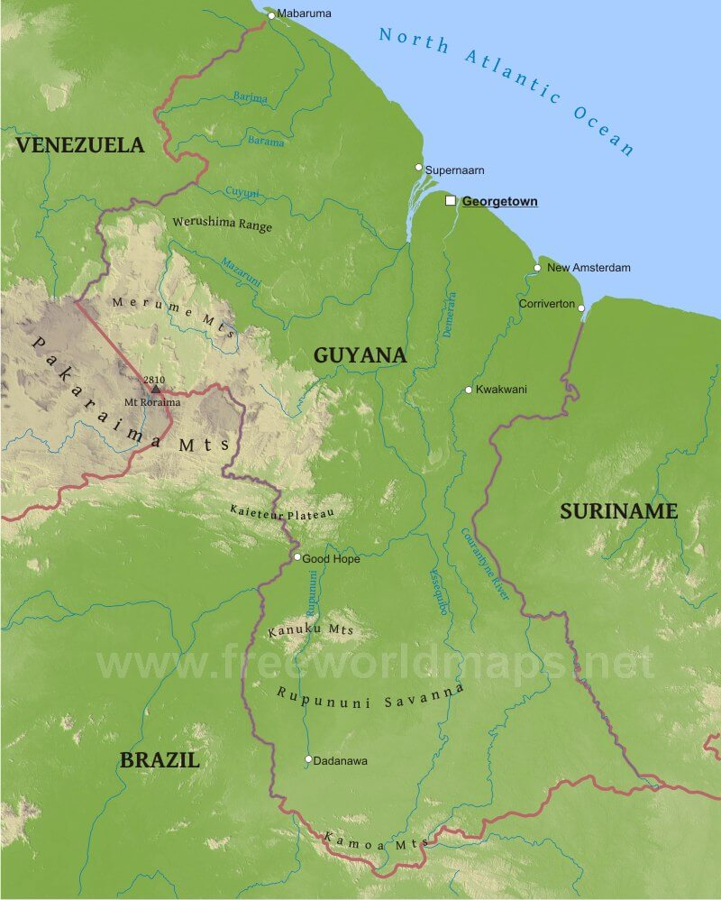 Guyana Physical Map