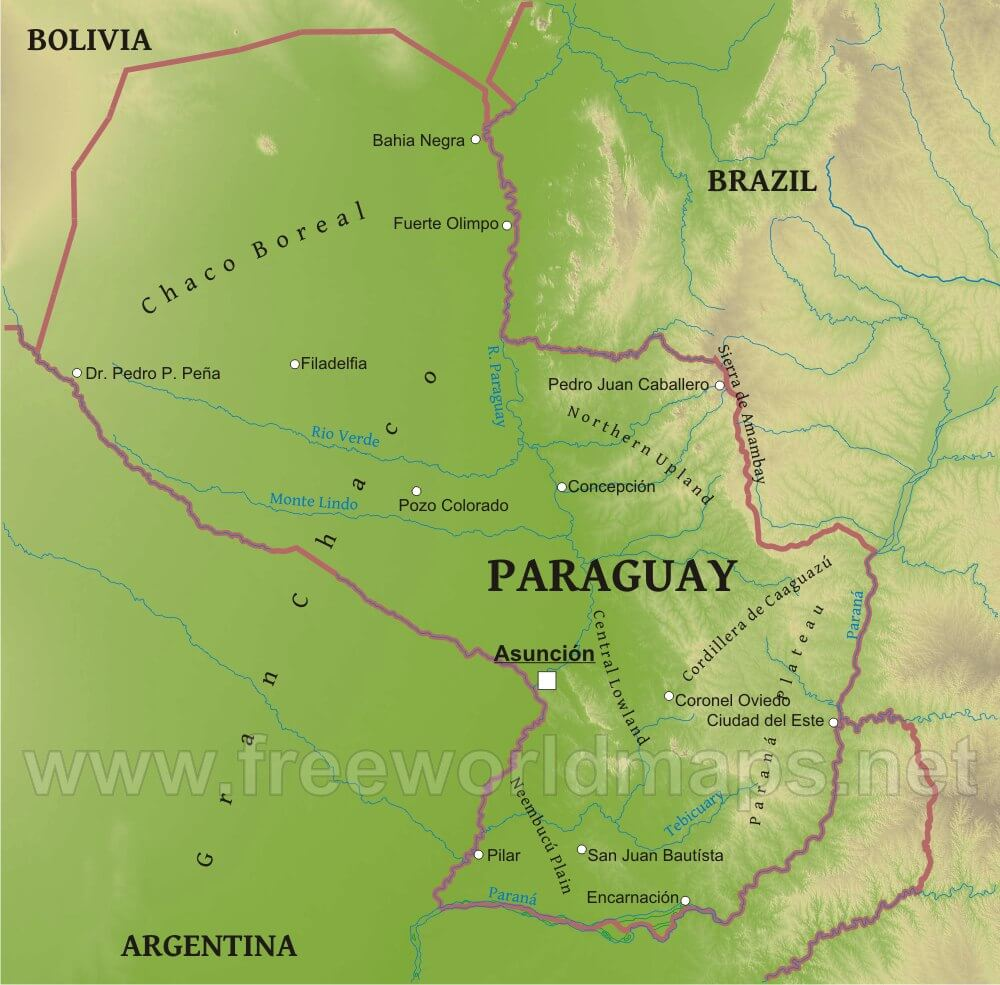 Paraguay Physical Map