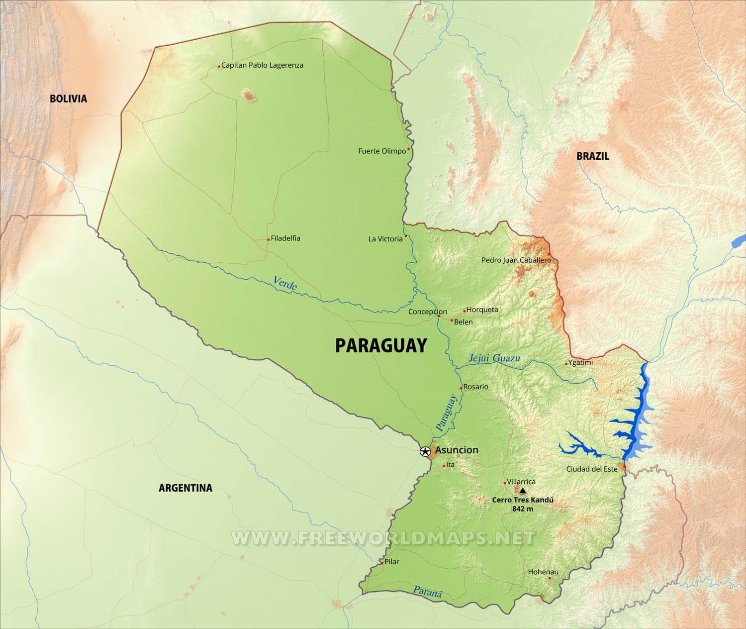 Physical map of paraguay equirectangular projection