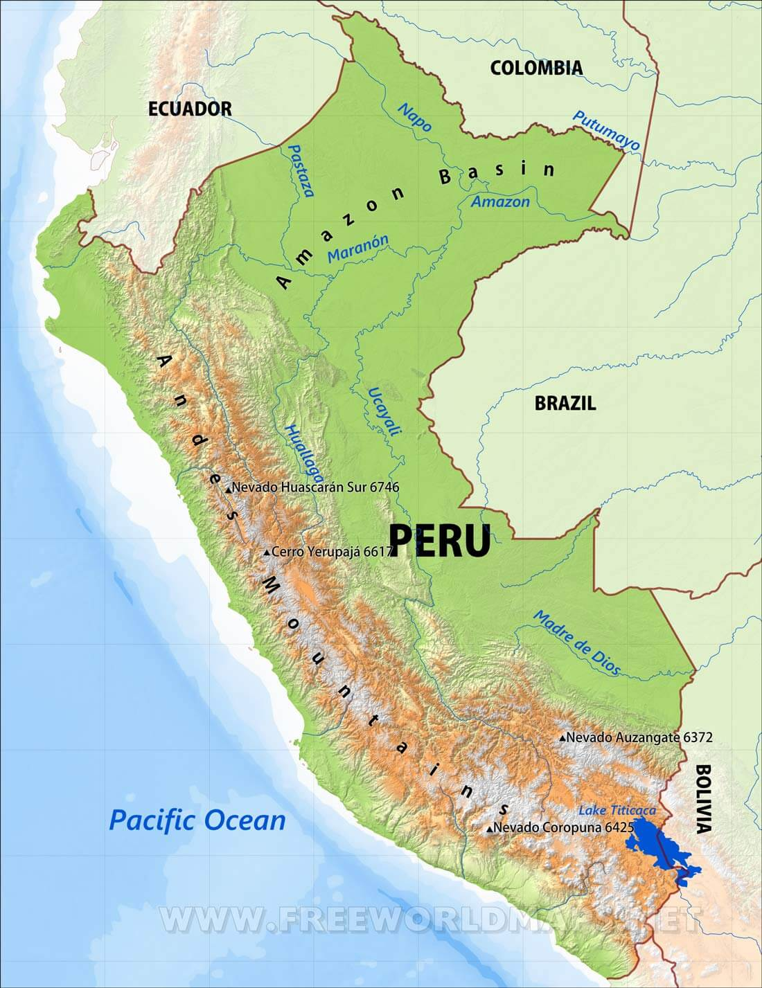 Peru Physical Map - Cities map of peru