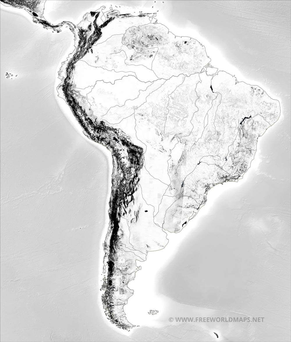 South America Physical Map Freeworldmapsnet - South america relief map peru