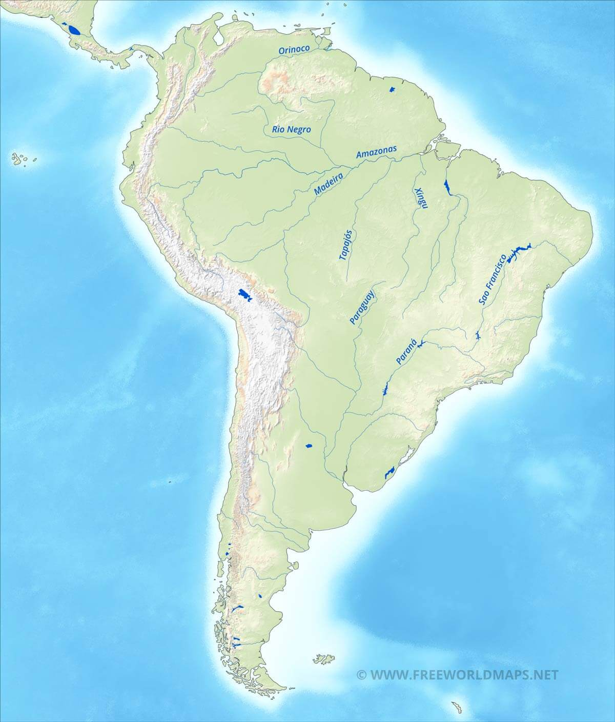 south america physical map u2013 freeworldmaps net