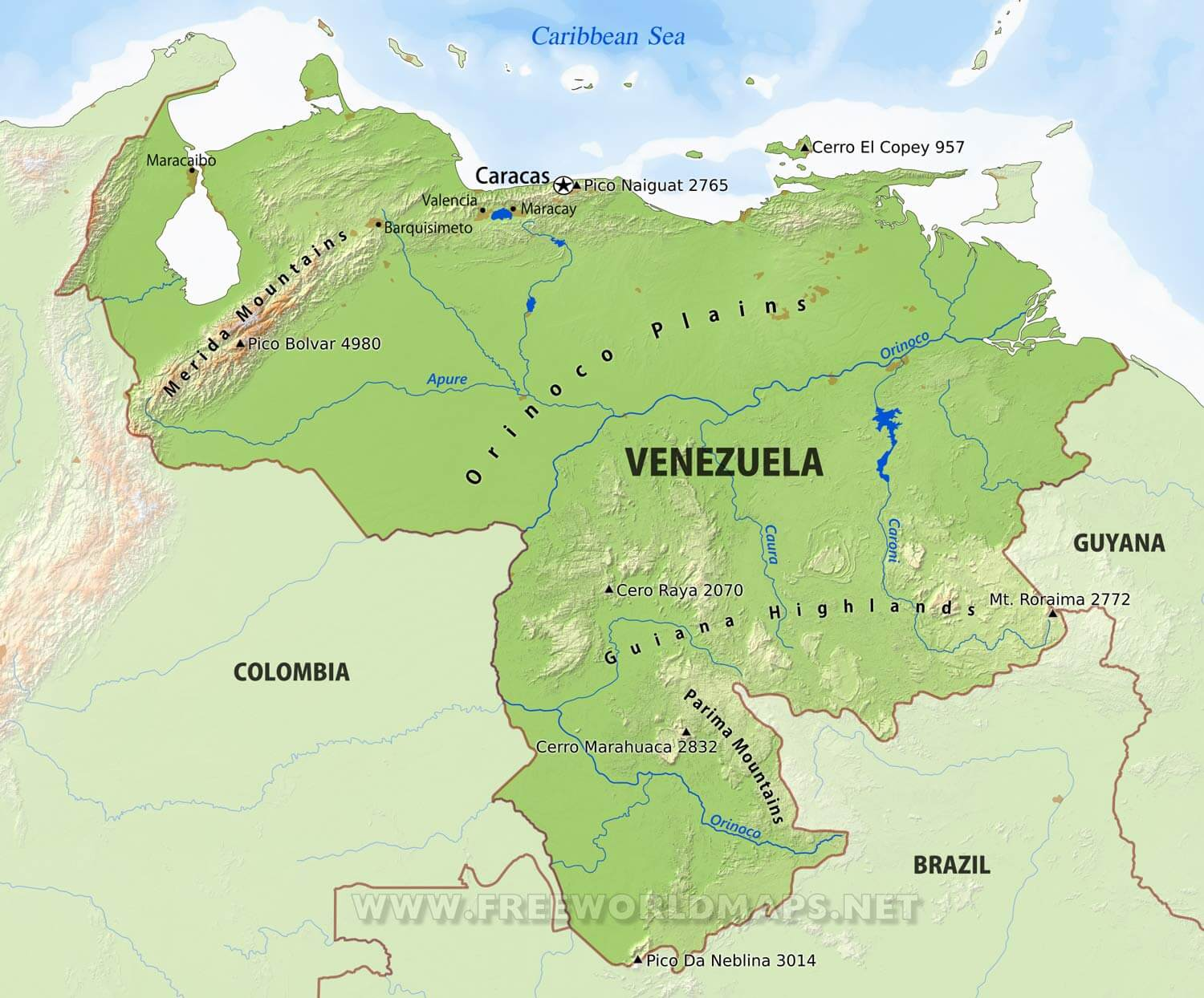 Venezuela Physical Map - Physical of map venezuela