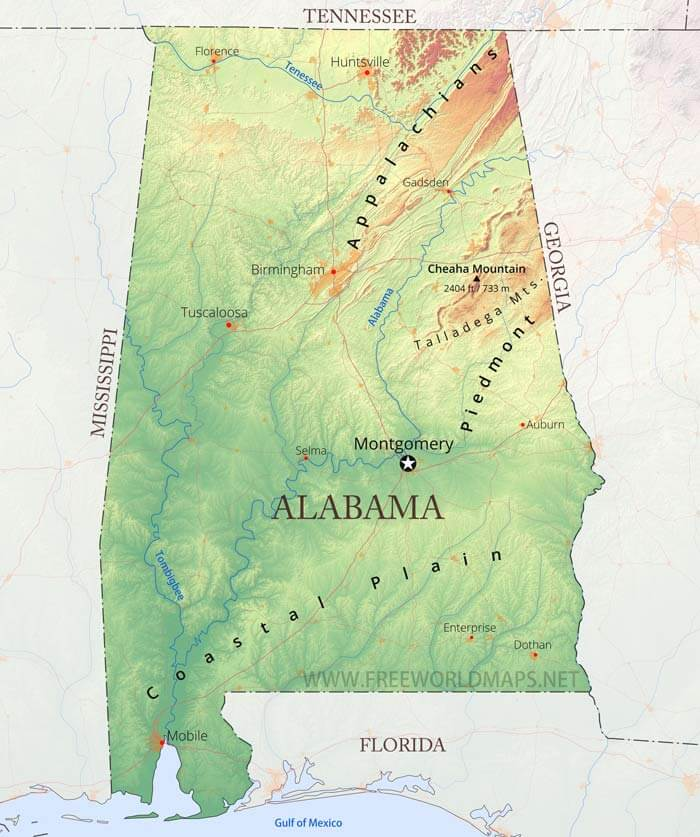 Physical Map Of Alabama