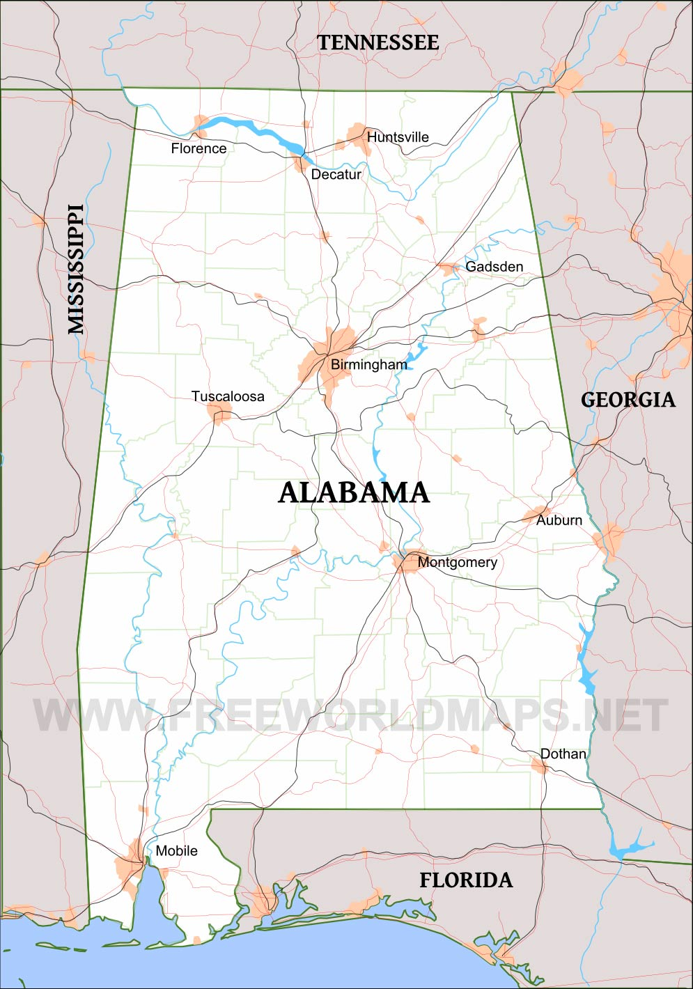 Detailed map of Alabama
