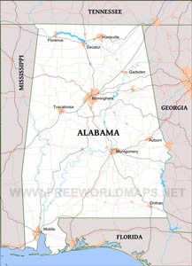 Physical Map Of Alabama - Maps of alabama