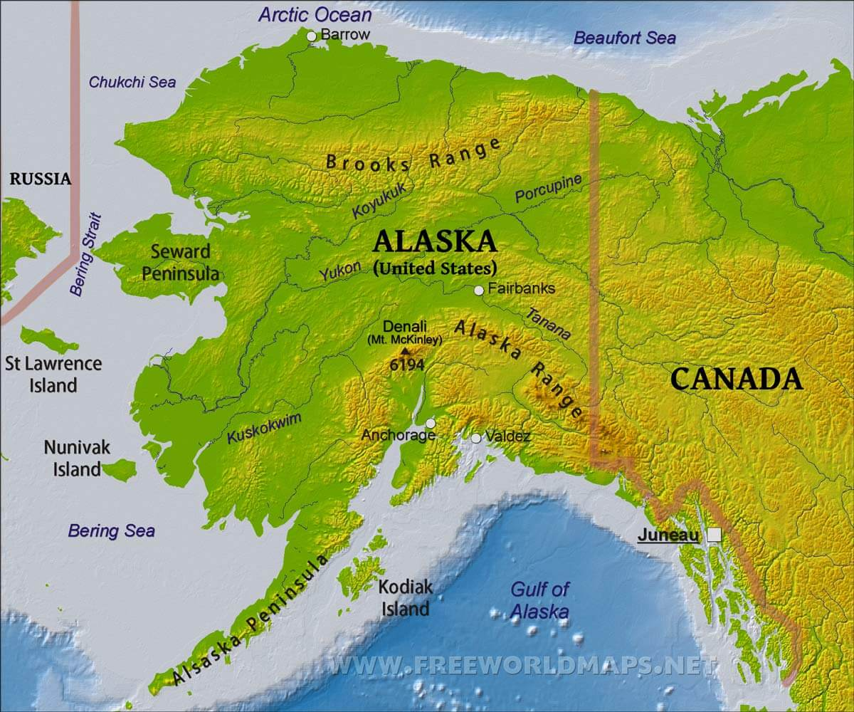 Physical Map Of Alaska - Mt mckinley on us map