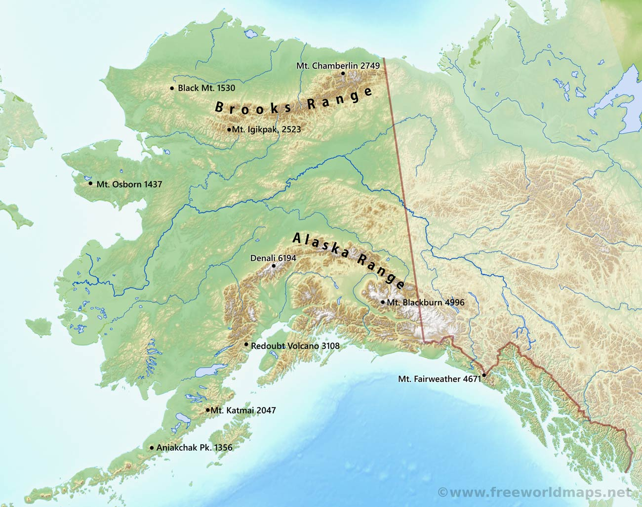 Physical map of alaska rivers of alaska alaska mountains gumiabroncs
