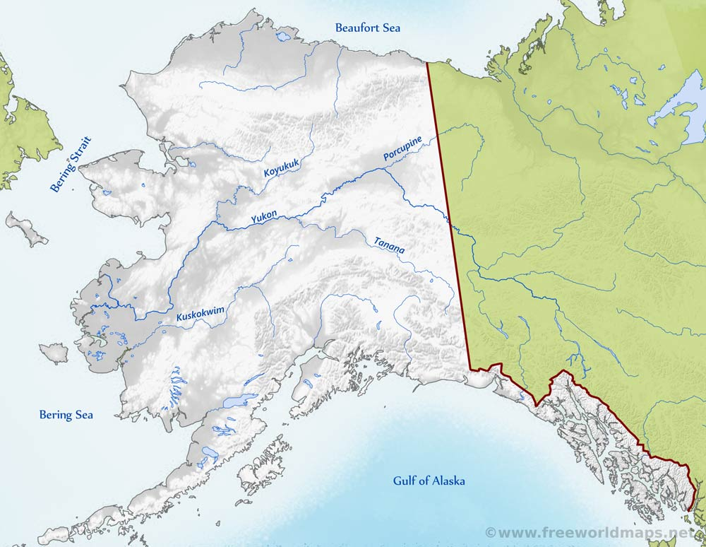 Physical map of alaska detailed political map of alaska alaska rivers gumiabroncs Image collections