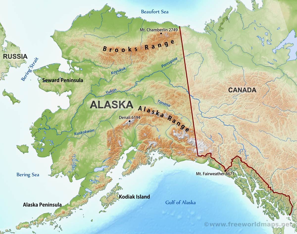 Physical Map Of Alaska - Mountain ranges of the united states