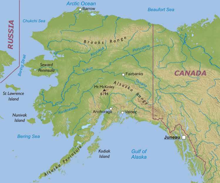 Physical Map Of Alaska - Physical features of the united states map
