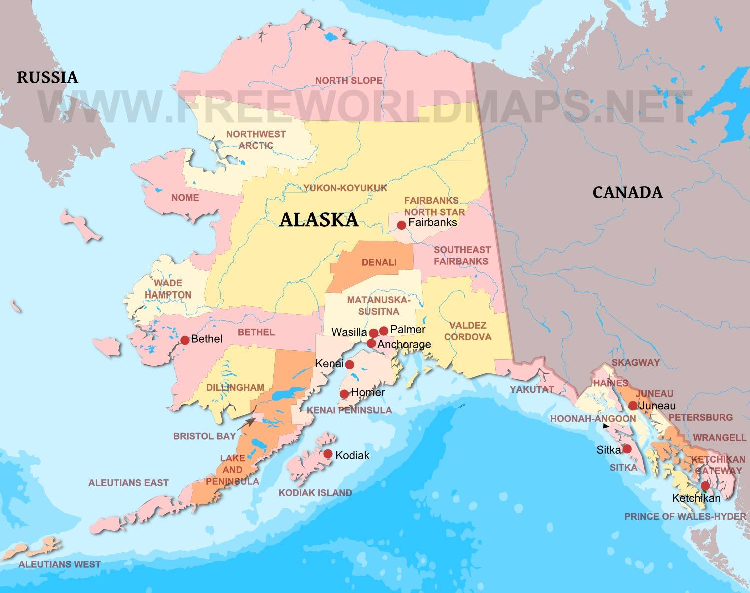 Physical Map Of Alaska - Map of canada and alaska