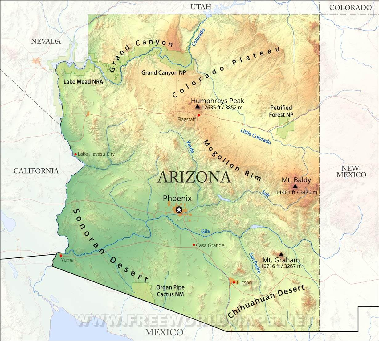 Physical Map Of Arizona - Us physical features map labeled