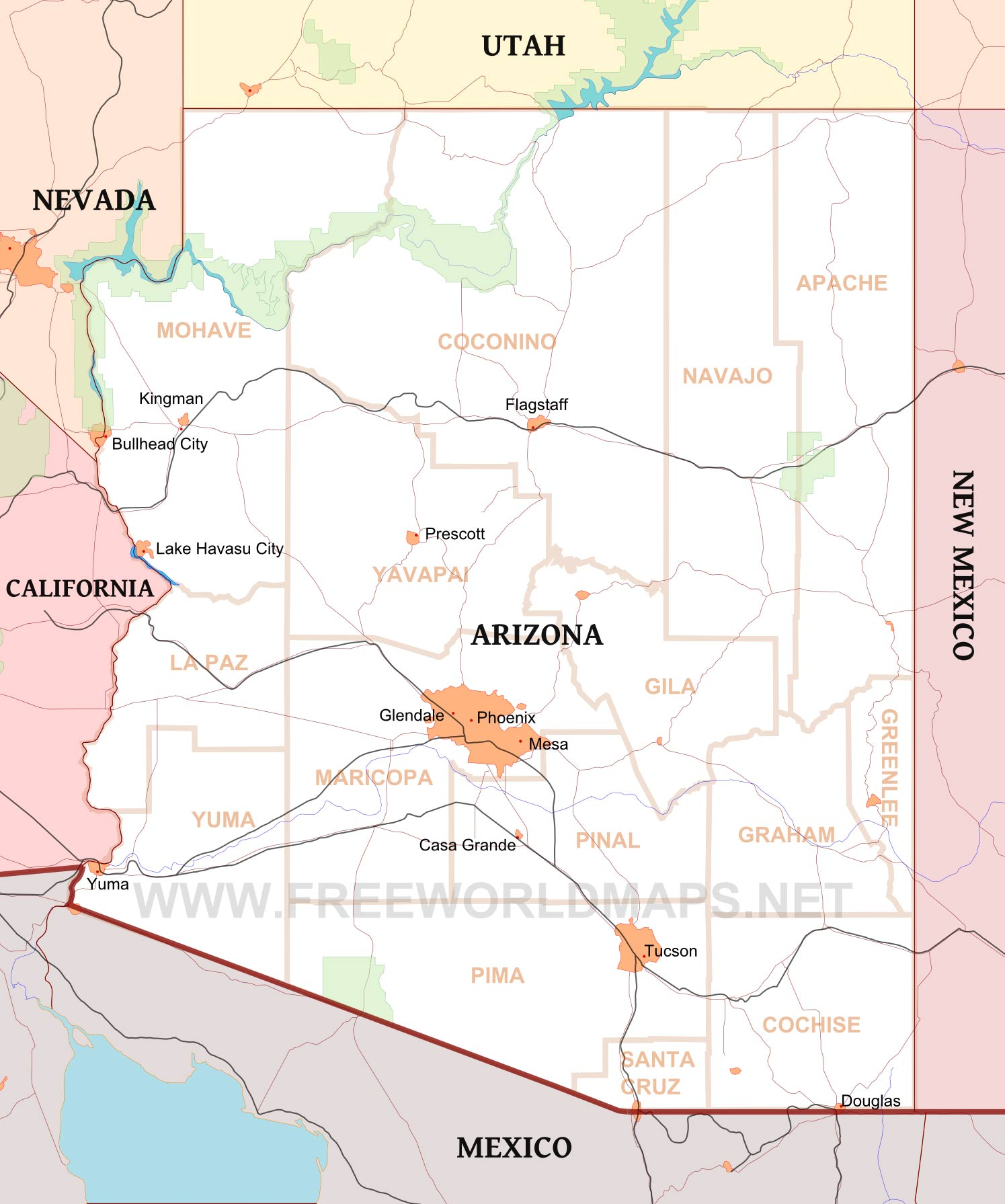Arizona Maps - Mapof arizona
