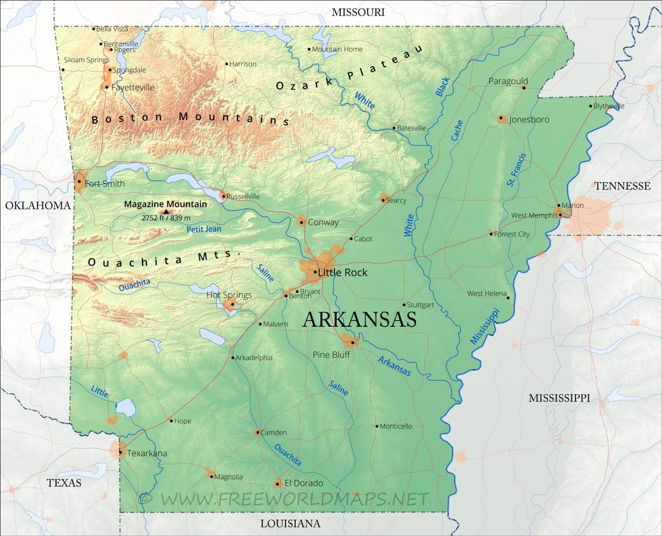 Physical Map Of Arkansas - Arkansas relief map