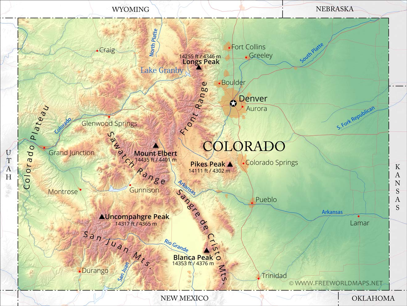 Physical Map Of Colorado - Colorado springs on us map