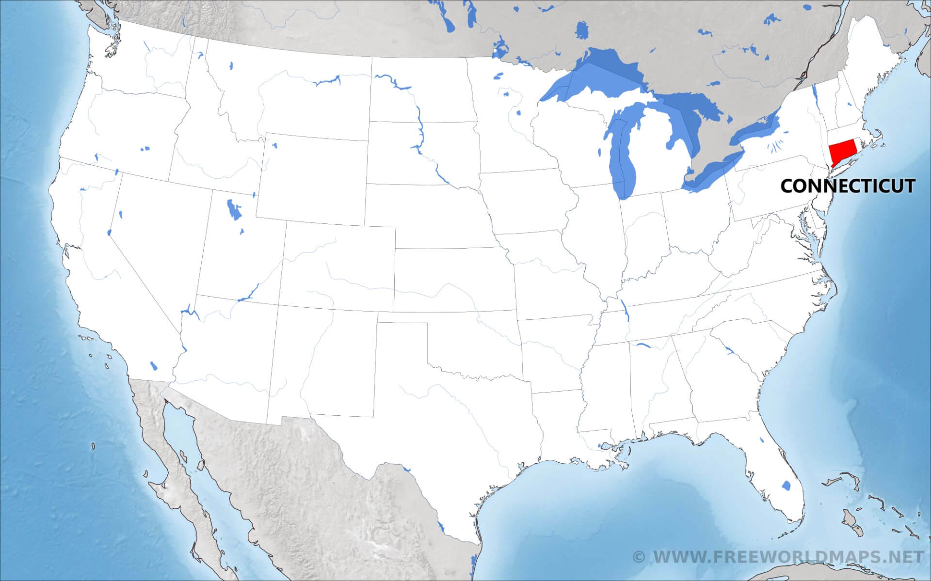 Where is Connecticut located on the map