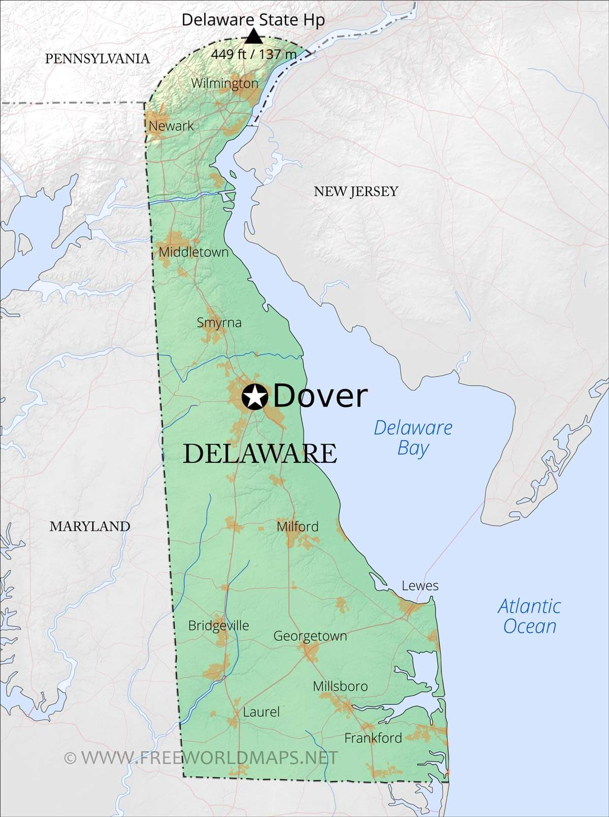 Physical map of Delaware