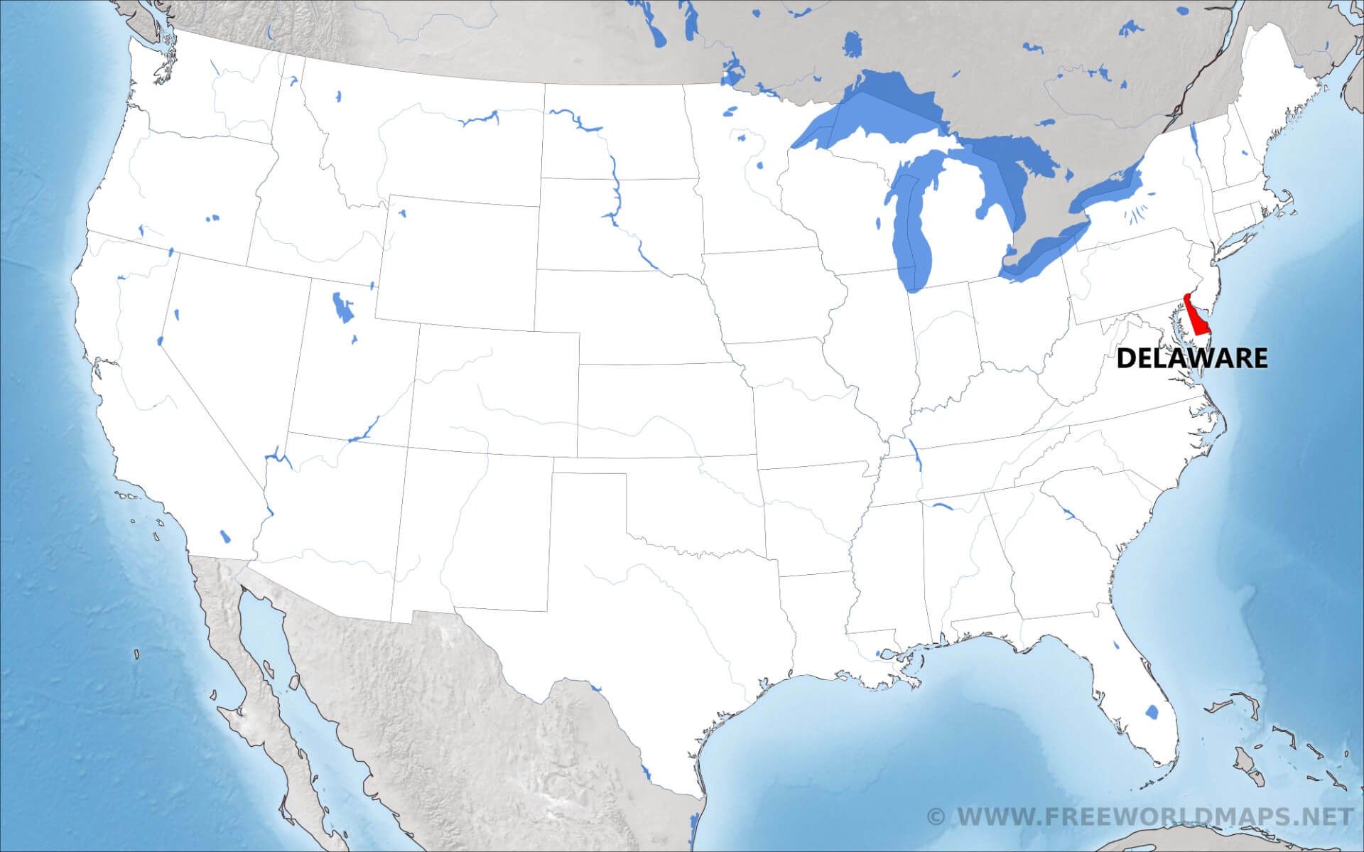 Where is Delaware located on the map