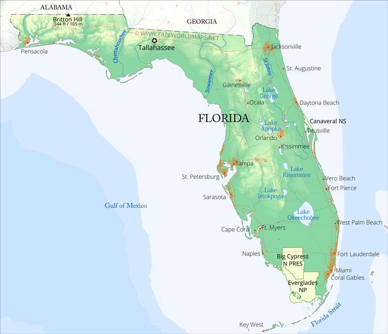 Physical Map Of Florida - Florida map state