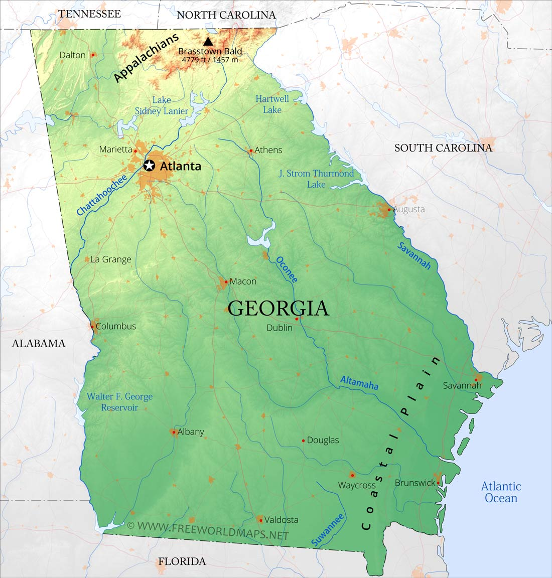 Physical Map Of Georgia - Us map ga