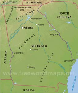 Georgia Maps - Map of georgia united states