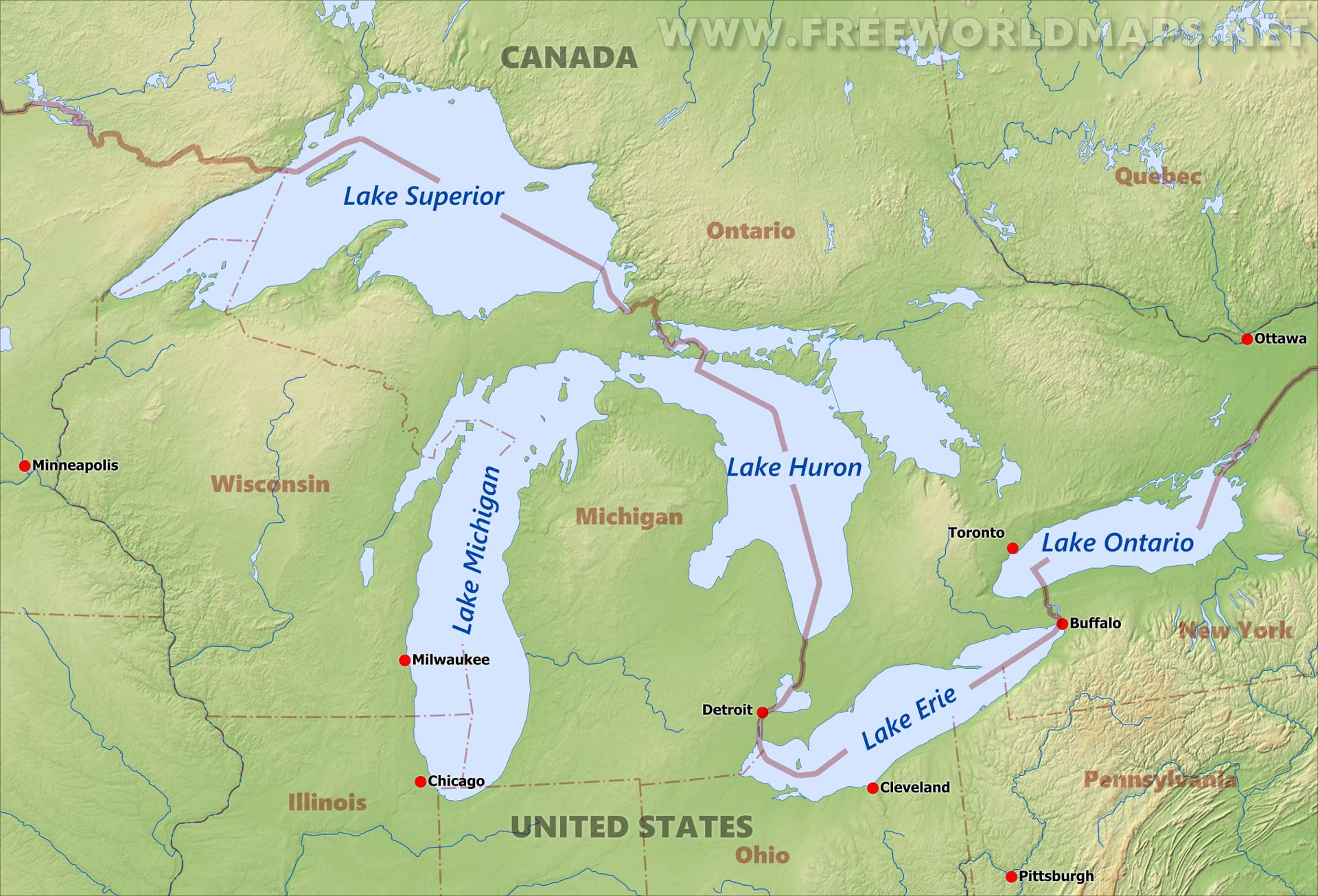 Great Lakes Maps Physical Map  United States Industry Lake - Physical map usa and canada