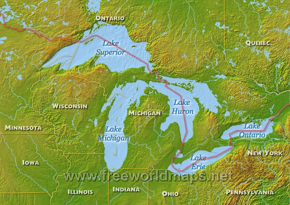 Great Lakes Maps - The great lakes on us and canada map